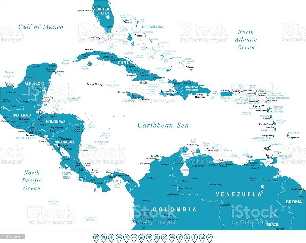 Central America - map and navigation labels - illustration vector art illustration