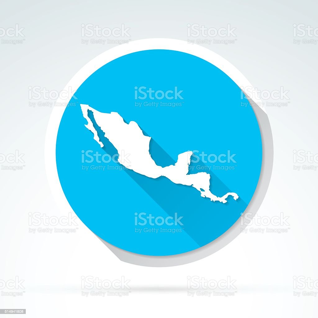 Central America map icon, Flat Design, Long Shadow vector art illustration