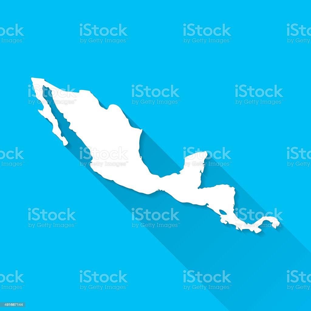 Central America Map on Blue Background, Long Shadow, Flat Design vector art illustration