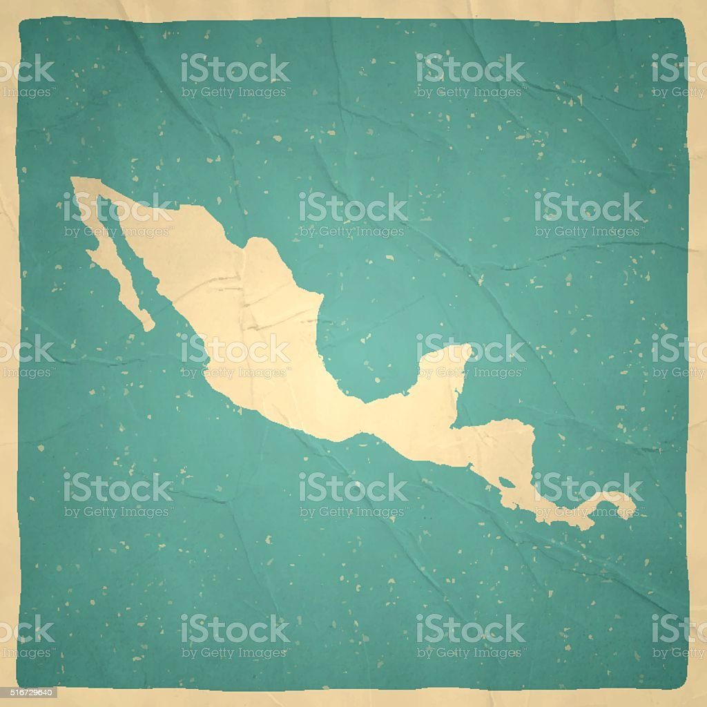 Central America Map on old paper - vintage texture vector art illustration