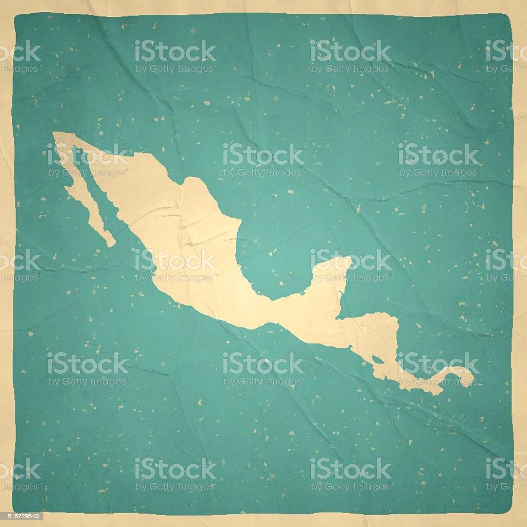 Central America Map on old paper - vintage texture vector art illustration