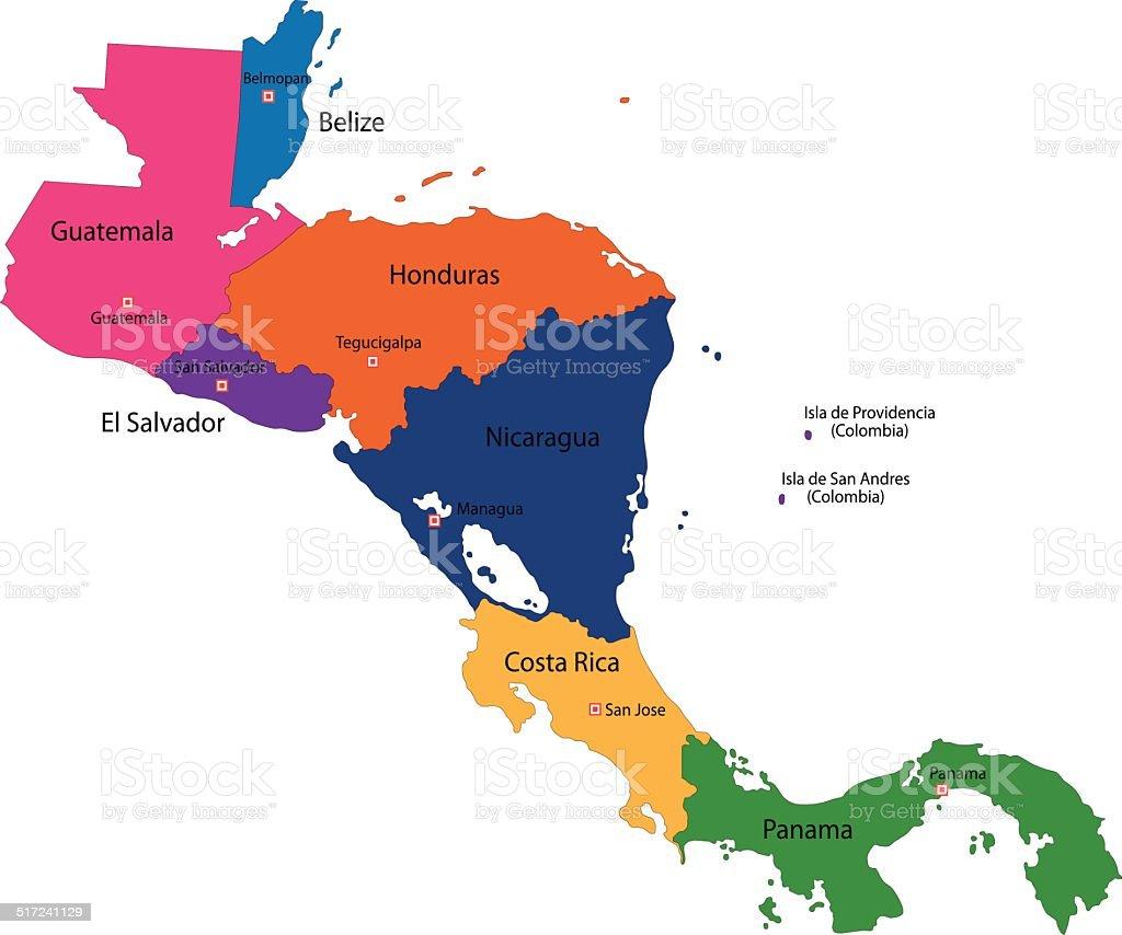 Central America map vector art illustration