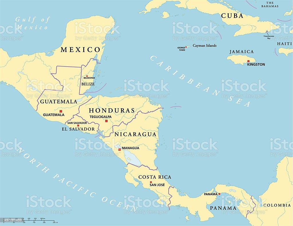 Central America Political Map vector art illustration