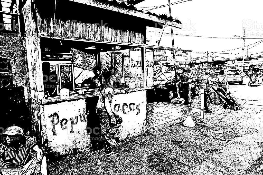 Central America Street Food Stand vector art illustration