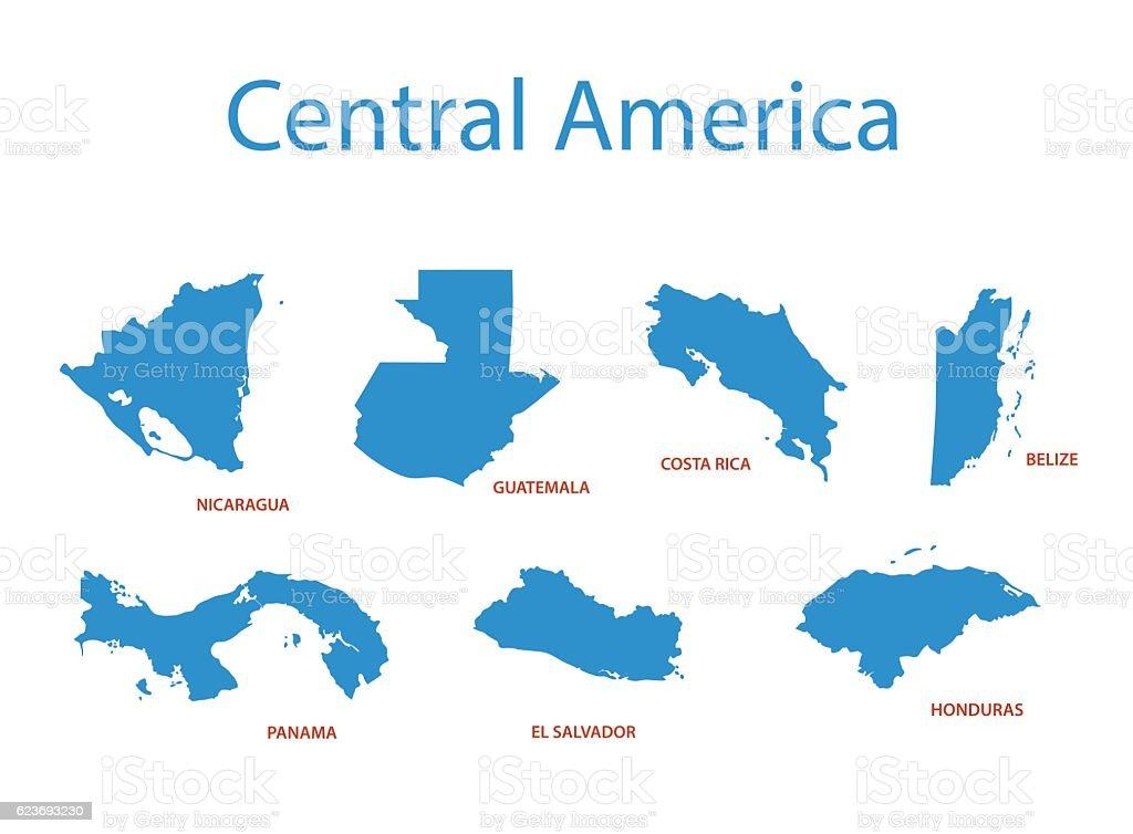 central america - vector maps of territories vector art illustration
