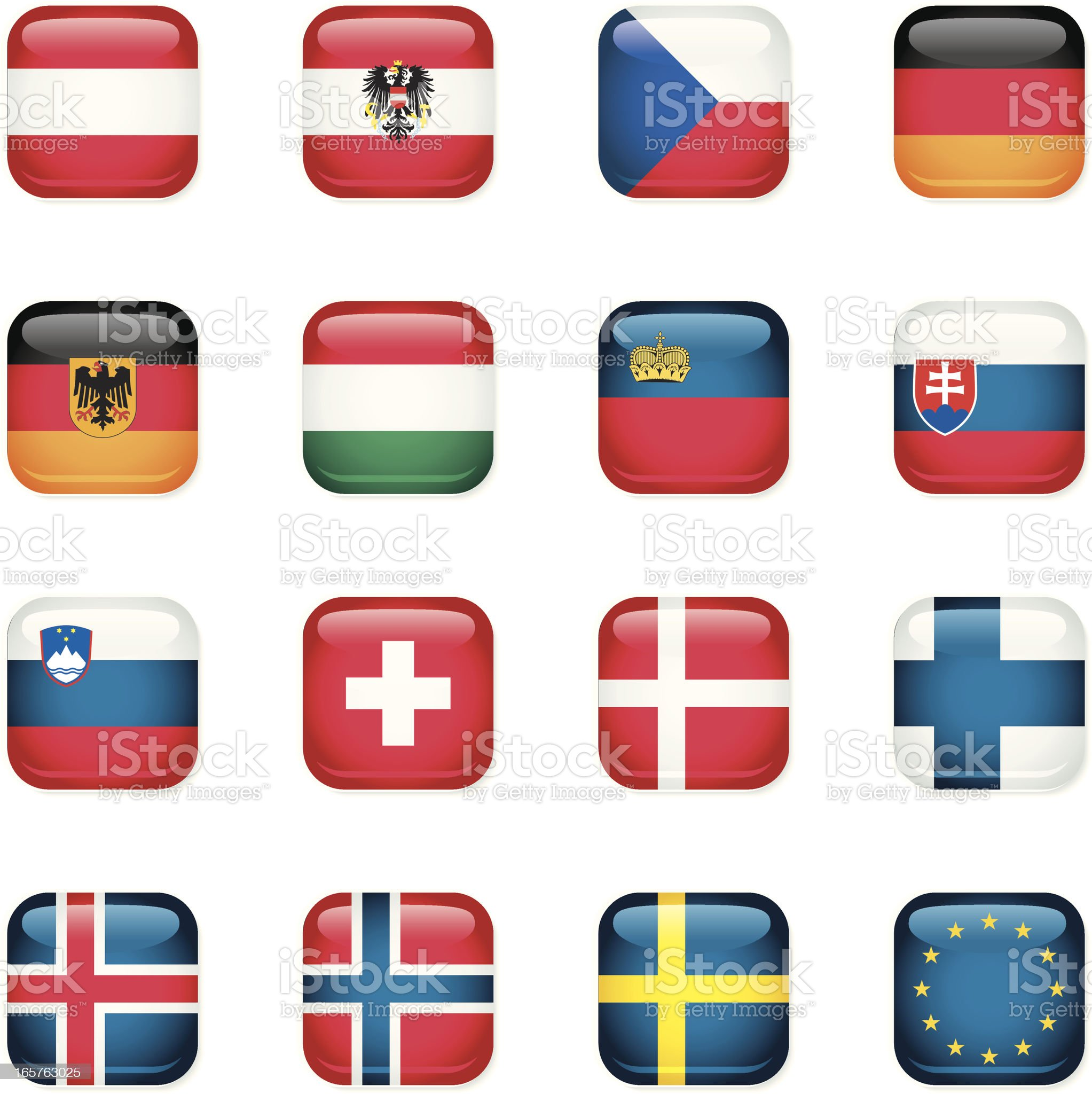 Central and Northern Europe Icon Flags royalty-free stock vector art