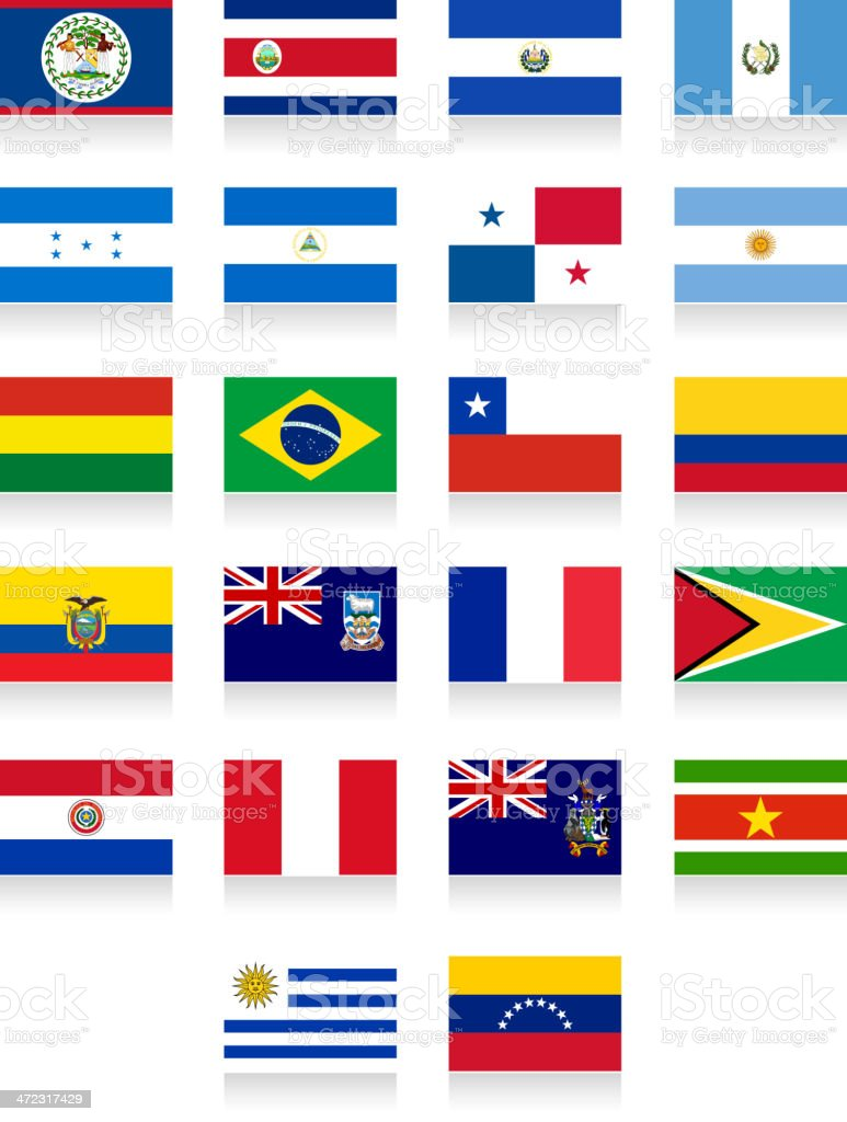Central and South America flag collection royalty-free stock vector art