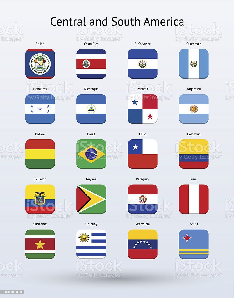 Central and South America Square Icons Flags Collection royalty-free stock vector art