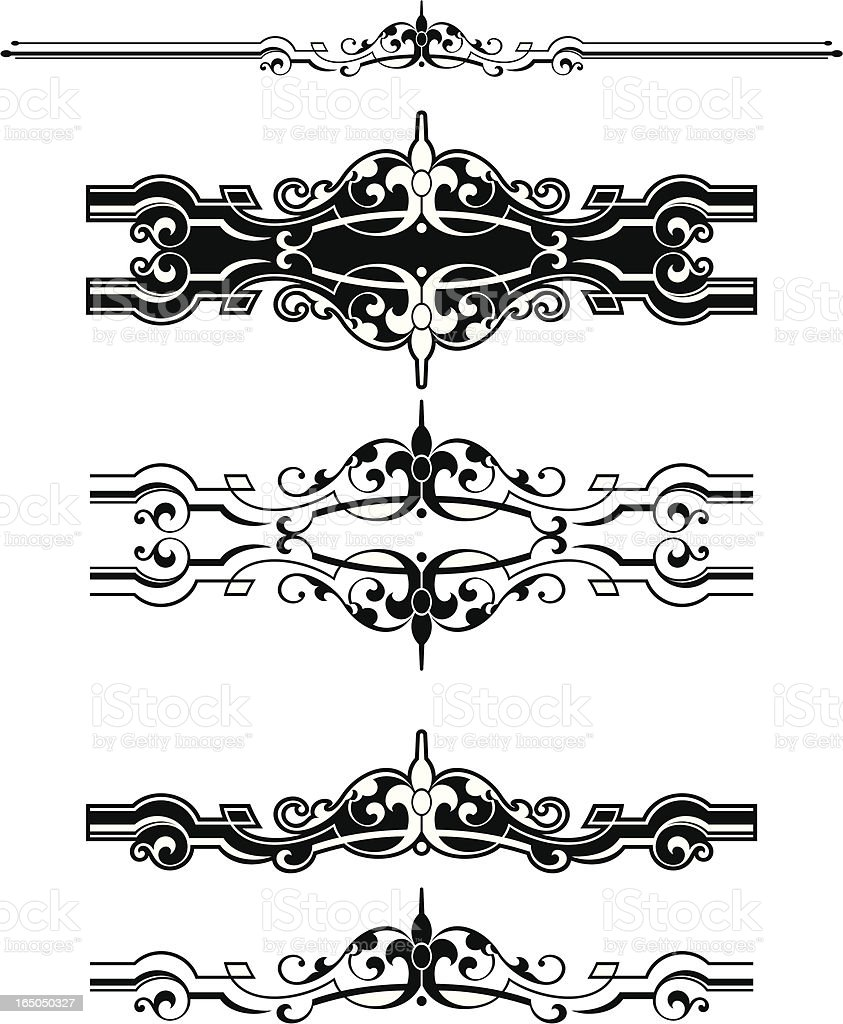 Central Border Scrolls and ruleline royalty-free stock vector art