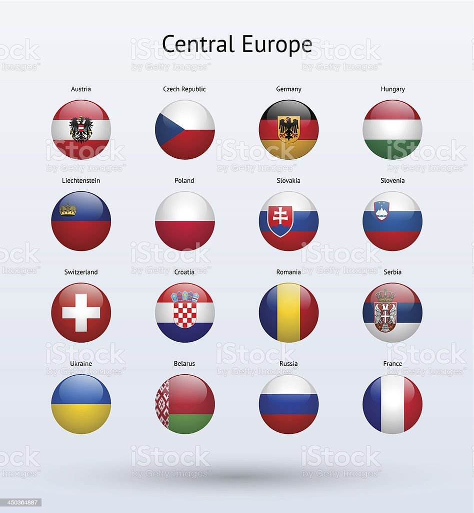 Central Europe Round Flags Collection vector art illustration