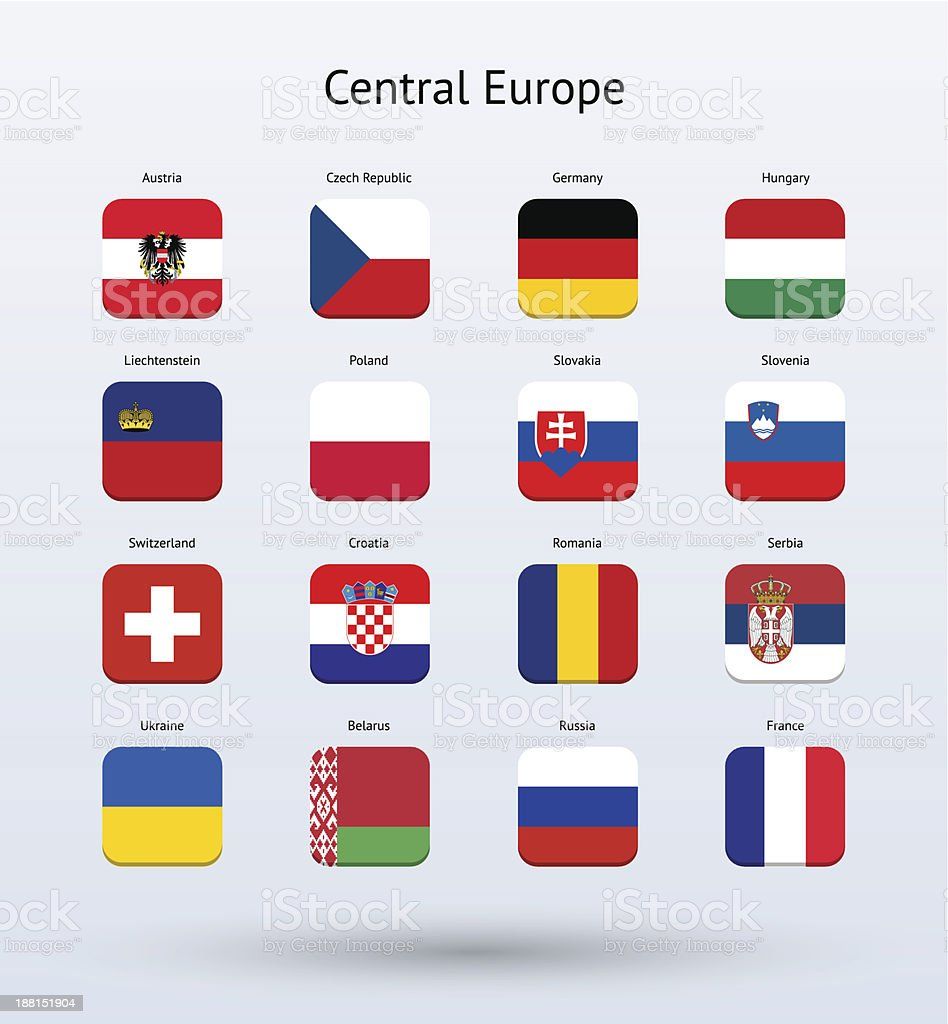 Central Europe Square Icons Flags Collection vector art illustration