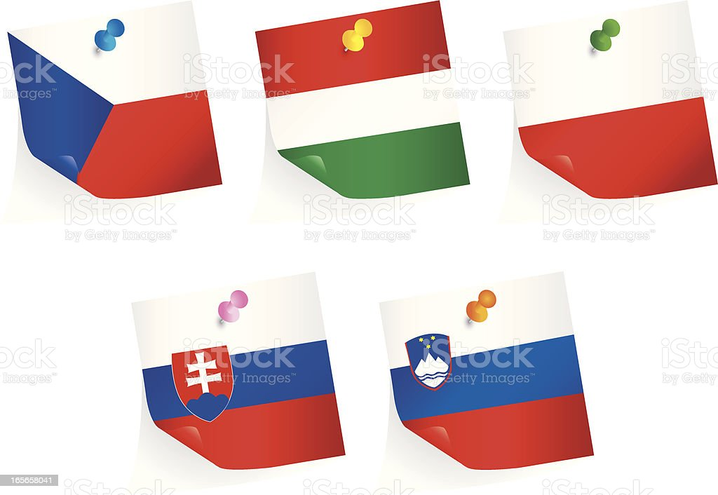 Central European Union Flags royalty-free stock vector art