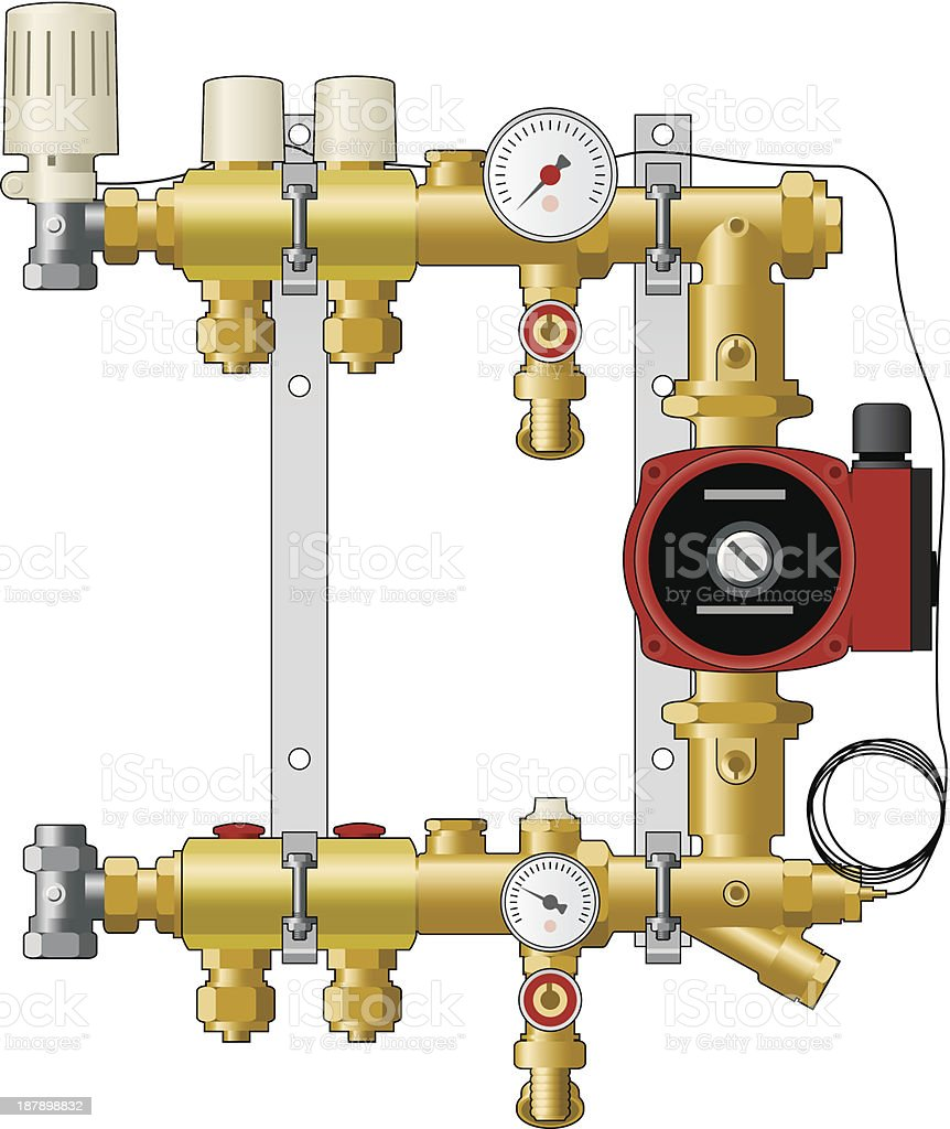 Central heating manifold and pump vector art illustration