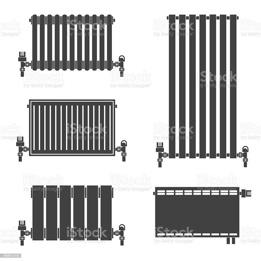 Central Heating Radiators icons. vector art illustration