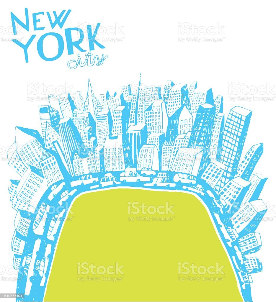 Central park in New York pencil drawing vector art illustration