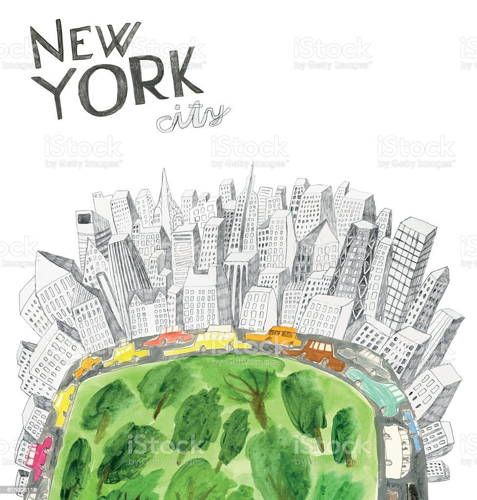 Central park in New York vector art illustration