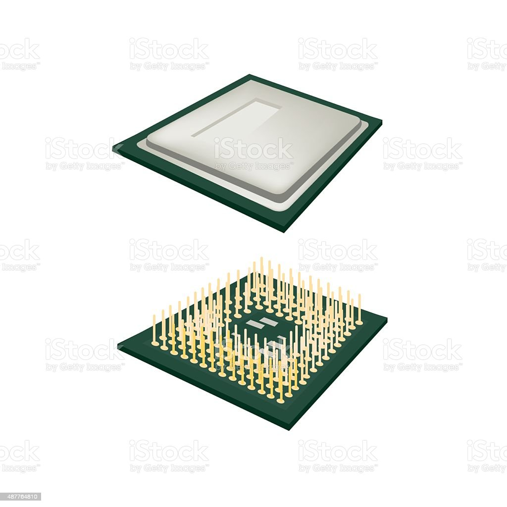 Central Processing Unit Chips on white Background vector art illustration