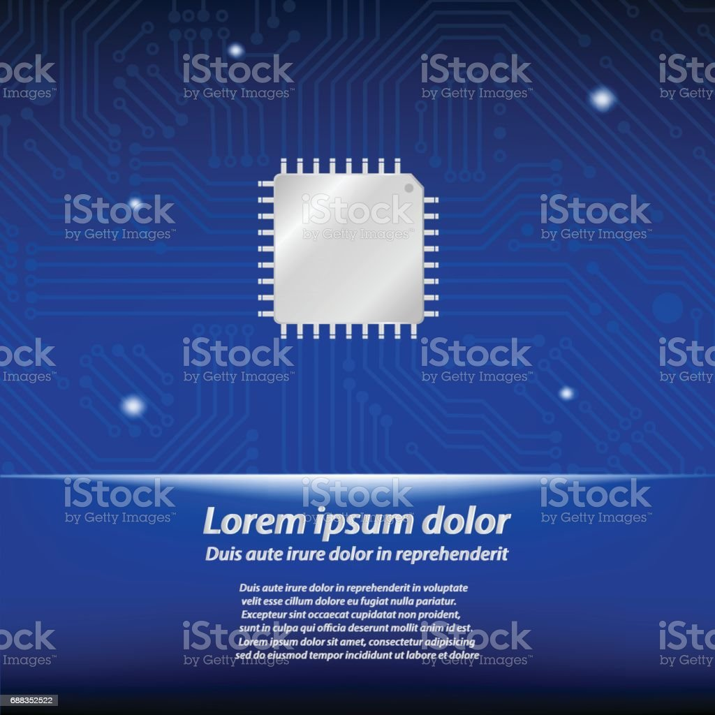 Central processing unit with circuit board vector art illustration