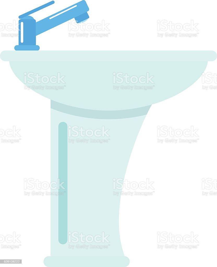 Ceramic bathroom washbasin isolated on white background hygiene faucet sink vector art illustration
