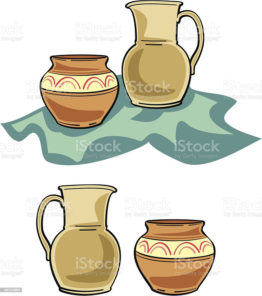 Ceramic Crockery Illustration royalty-free stock vector art