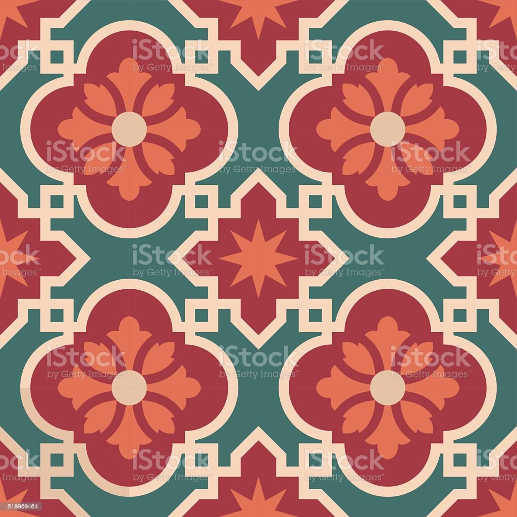 Ceramic Moroccan mosaic tile pattern with flower vector art illustration