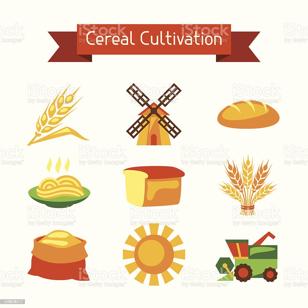 Cereal cultivation and farming icon set. vector art illustration