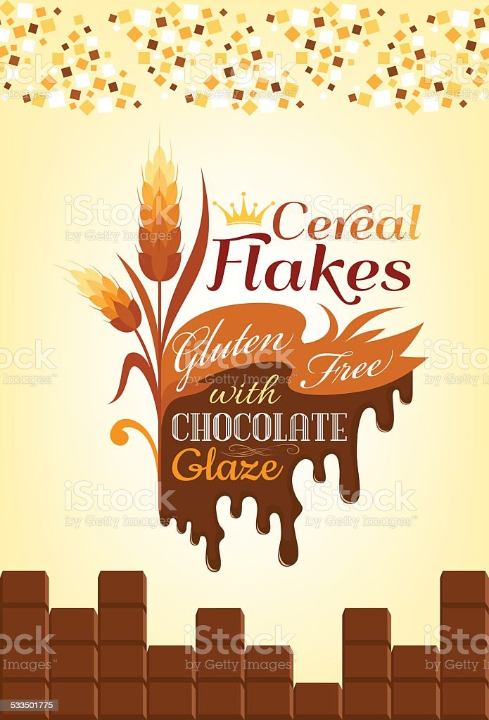 Cereal flakes with chocolate. vector art illustration