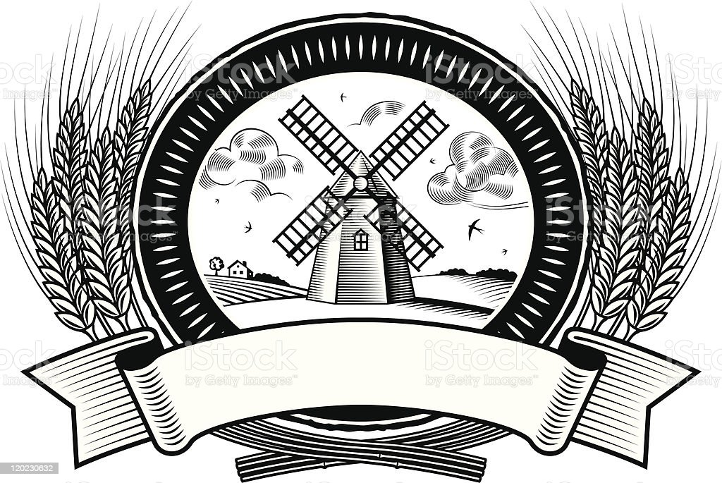 Cereal harvest label black and white royalty-free stock vector art