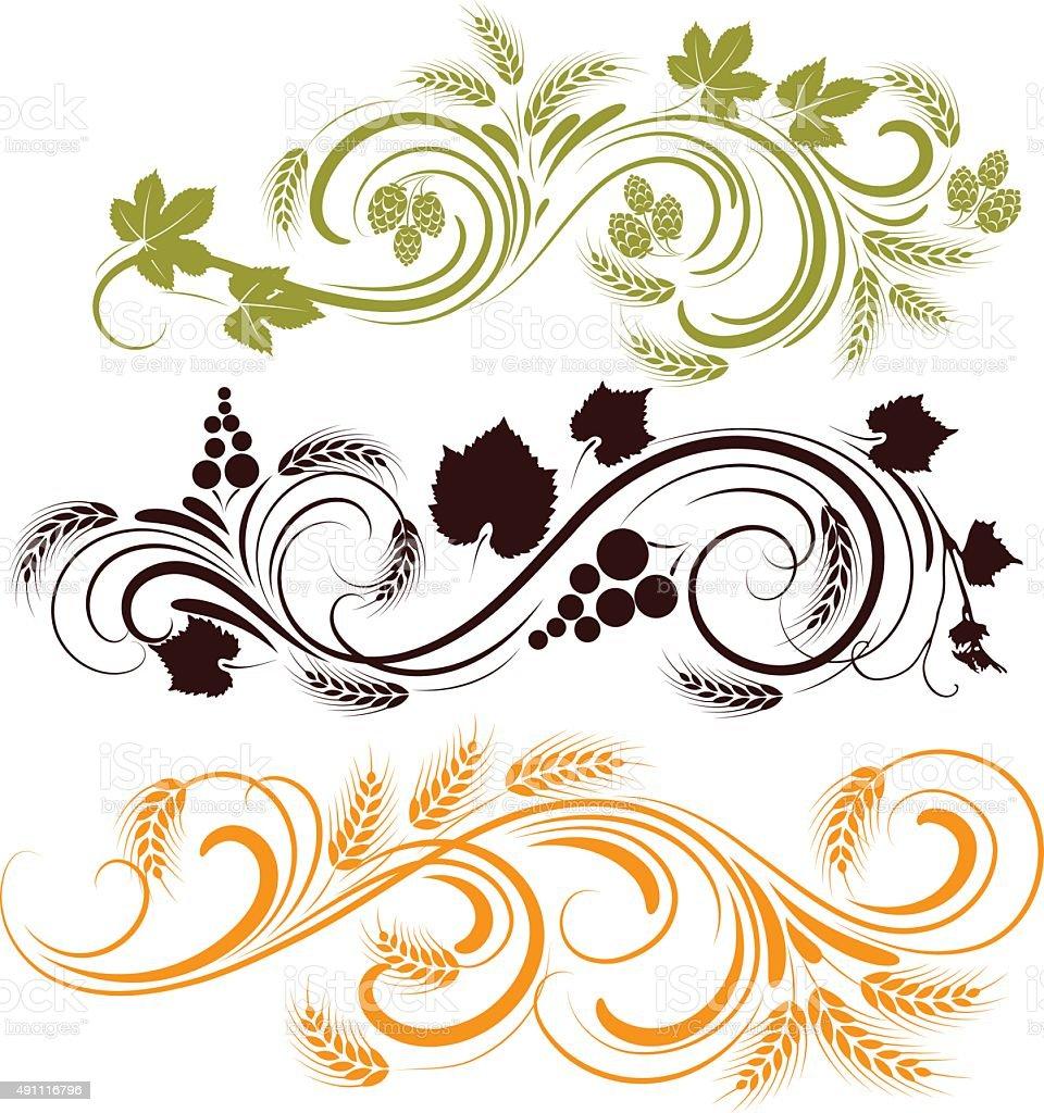 Cereal Plant,hop,grape ornament vector art illustration