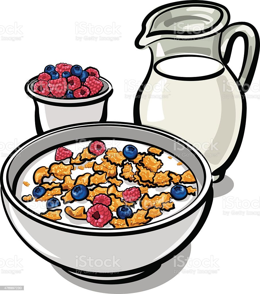 cereals and milk vector art illustration