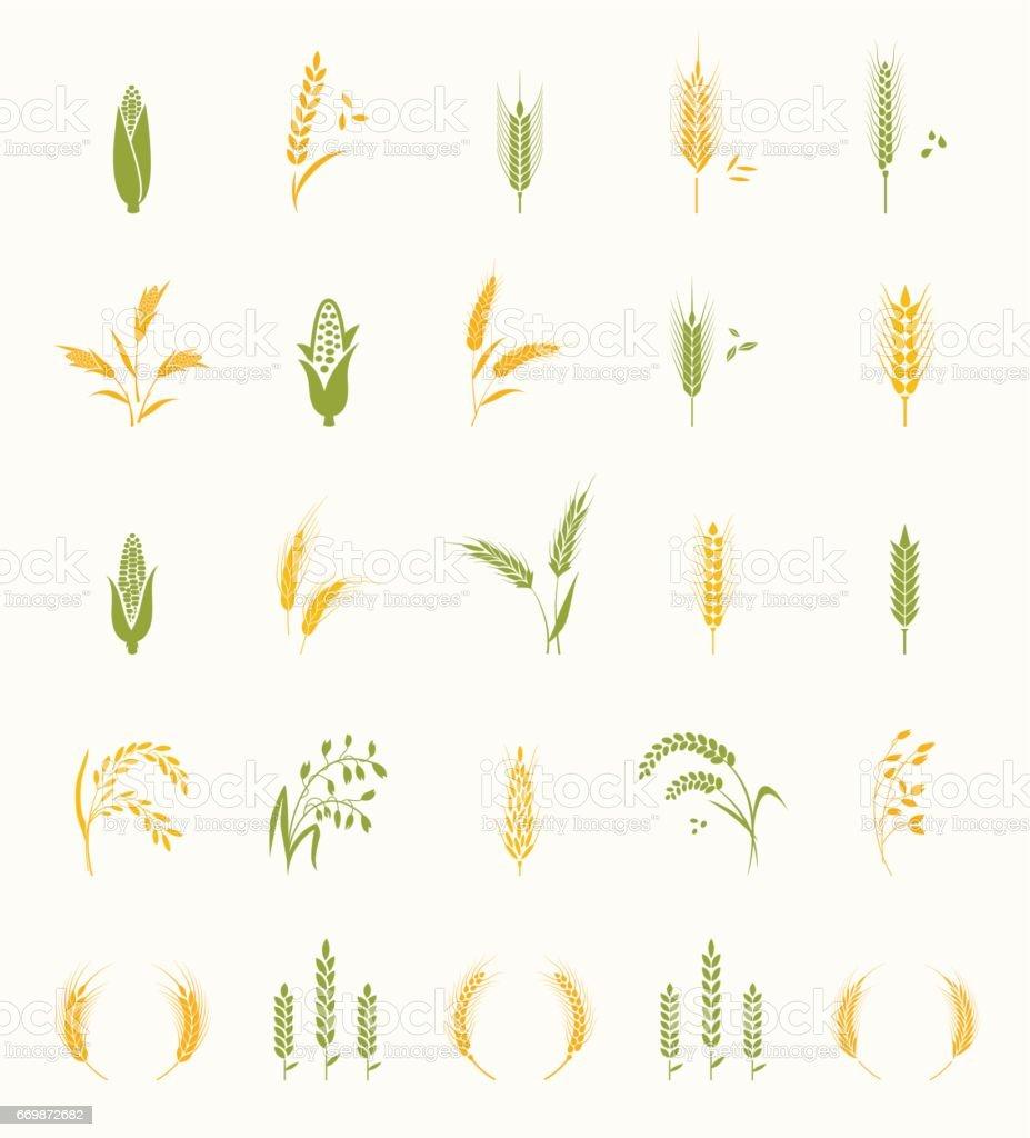 Cereals icon set. vector art illustration