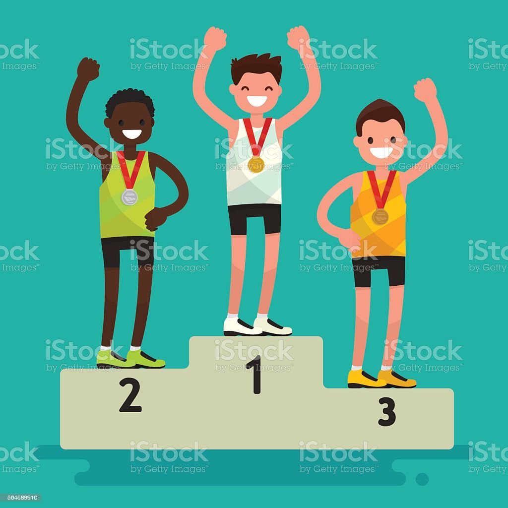 Ceremony of awarding medals. The three athletes on the pedestal vector art illustration