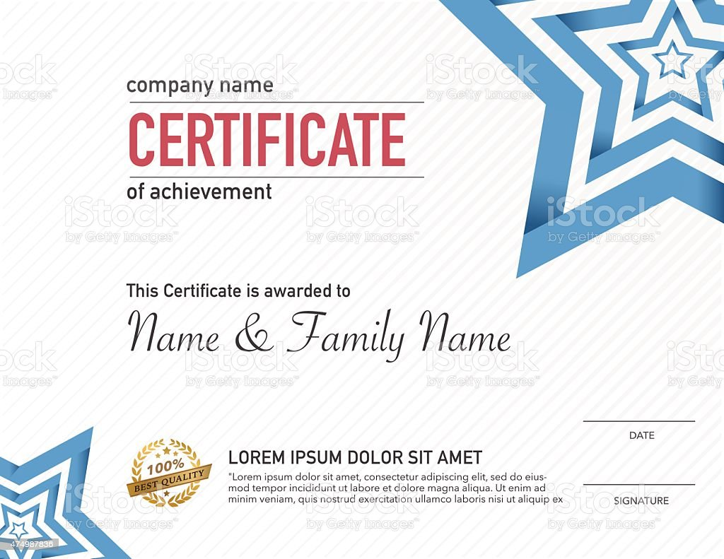 Certificate business and entertainment design template. vector art illustration