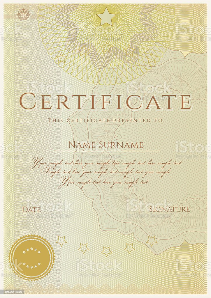 Certificate / Diploma (template). Award background. Guilloche pattern (watermarks) royalty-free stock vector art