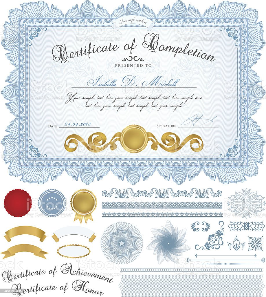 Certificate / Diploma / Coupon (template). Award background design (frame, Guilloche pattern) royalty-free stock vector art