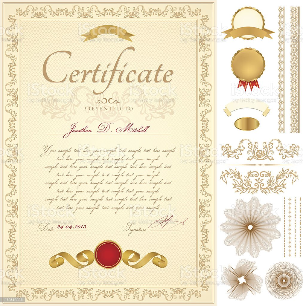 Certificate / Diploma / Coupon (template). Award background (frame, border, Guilloche pattern) royalty-free stock vector art