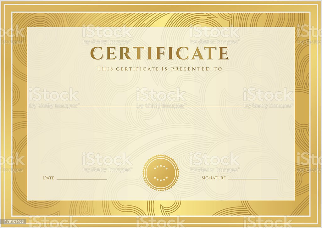 Certificate / Diploma template (coupon). Gold award background (floral pattern) royalty-free stock vector art