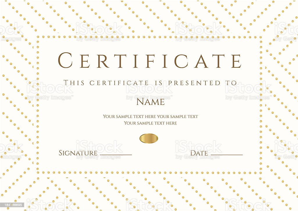Certificate / Diploma template (coupon). Gold award background (stripy, dots pattern) vector art illustration