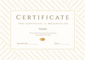 Certificate / Diploma template (coupon). Gold award background (stripy, dots pattern)
