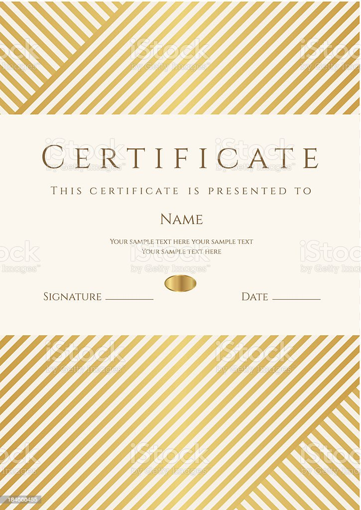 Certificate / Diploma template (coupon). Gold award background (stripy, lines pattern) vector art illustration