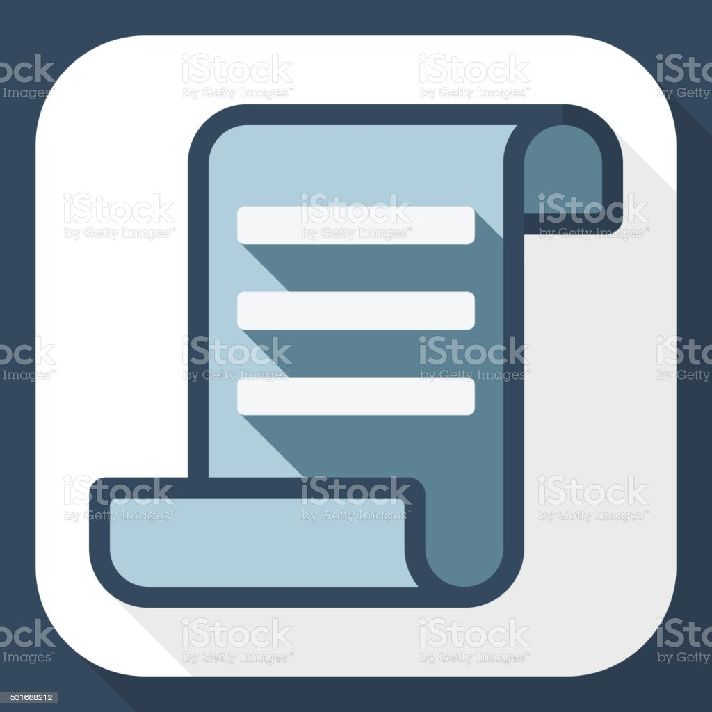 Certificate icon with long shadow vector art illustration