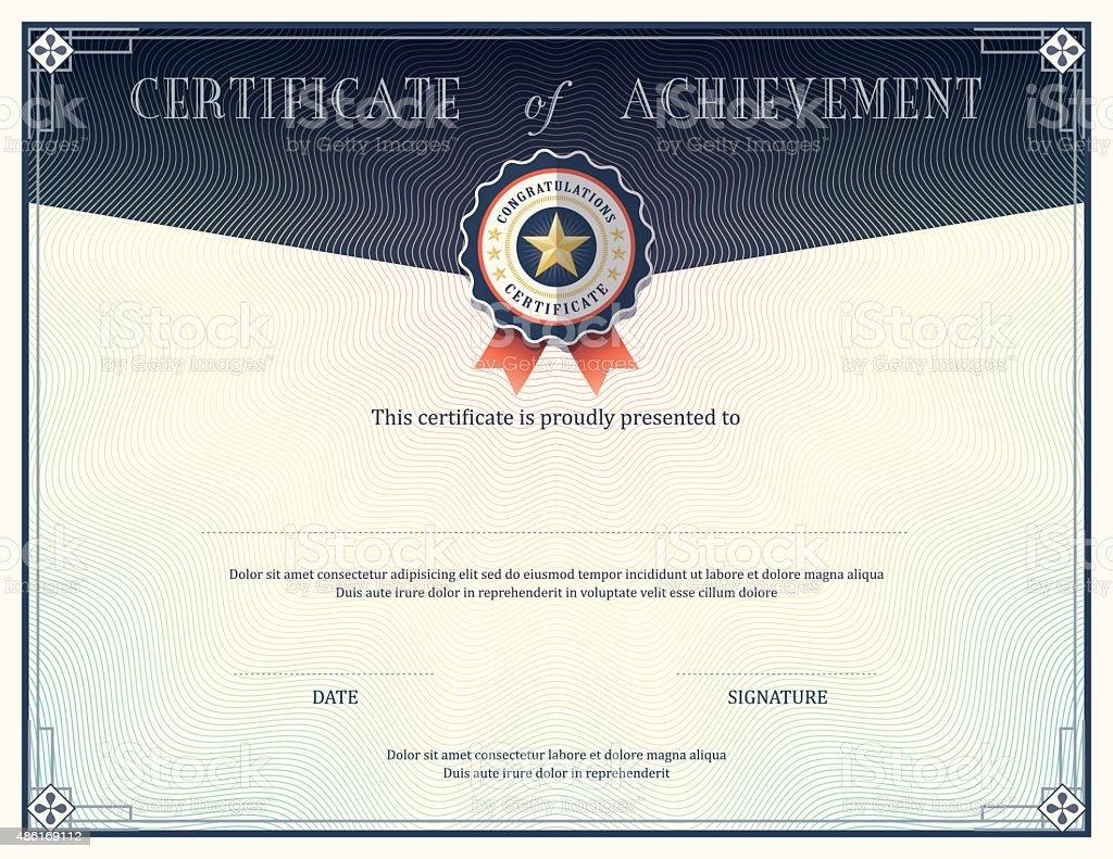 Certificate of achievement design template vector art illustration