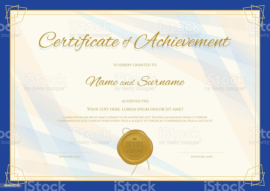 Certificate Of Achievement Template In Modern Theme Stock Vector