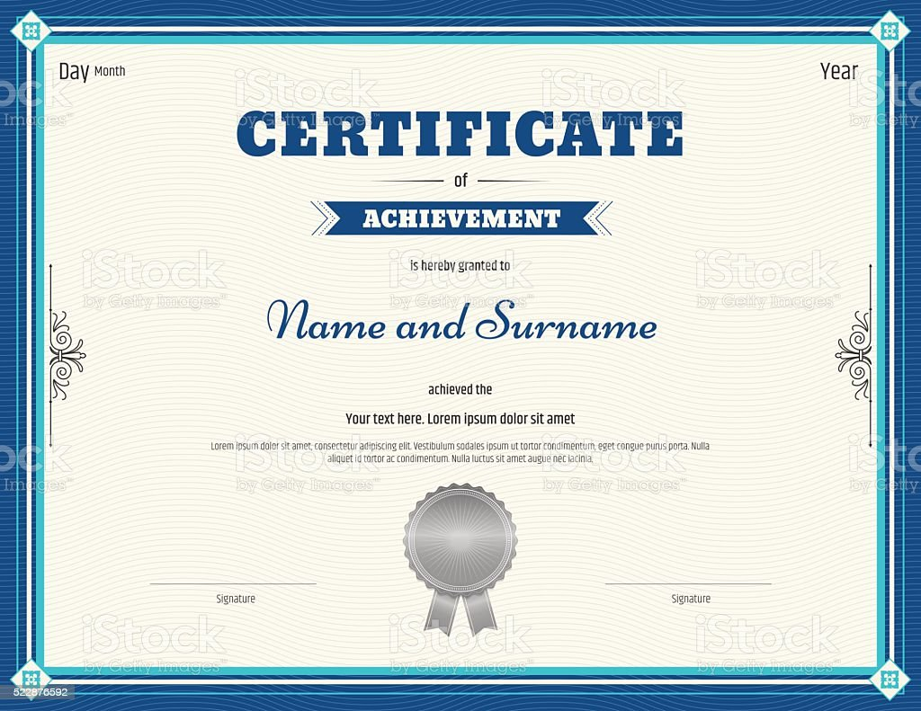 Certificate of achievement template in vector blue theme vector art illustration