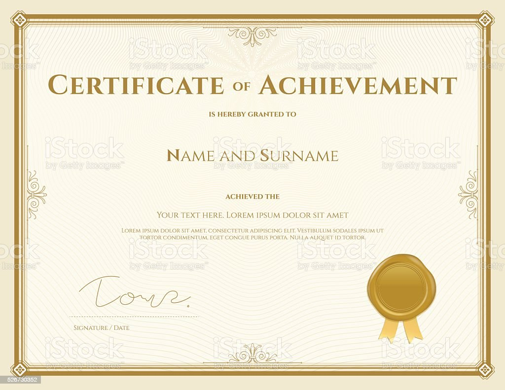 Certificate of achievement template in vector gold theme vector art illustration