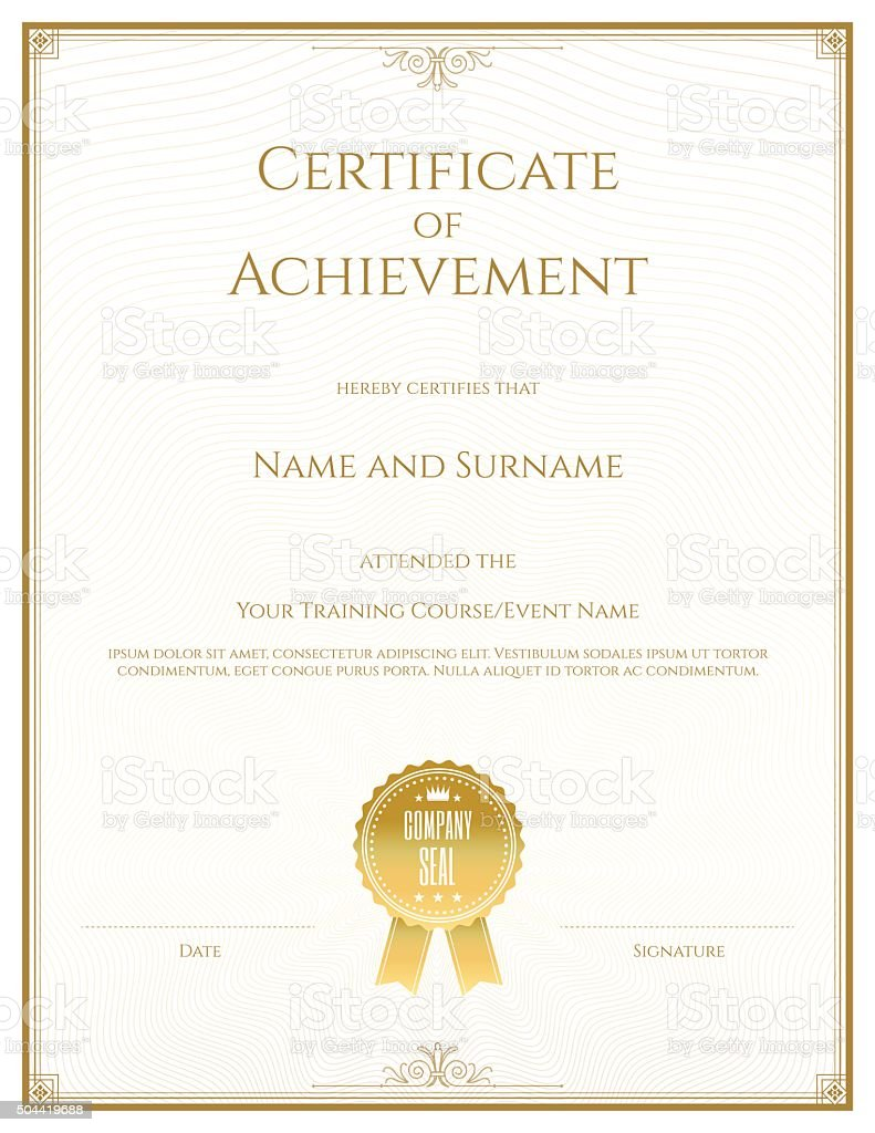 Certificate of achievement template in vector vector art illustration