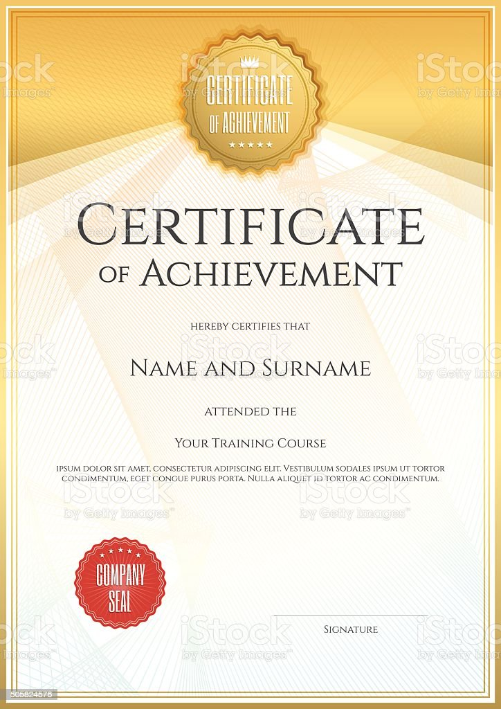 Certificate Of Achievement Template In Vector Stock Vector Art