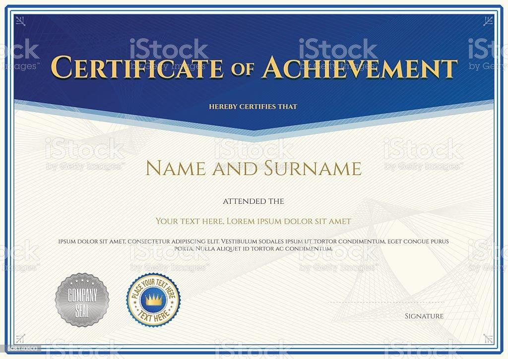Certificate of achievement template in vector vector art illustration