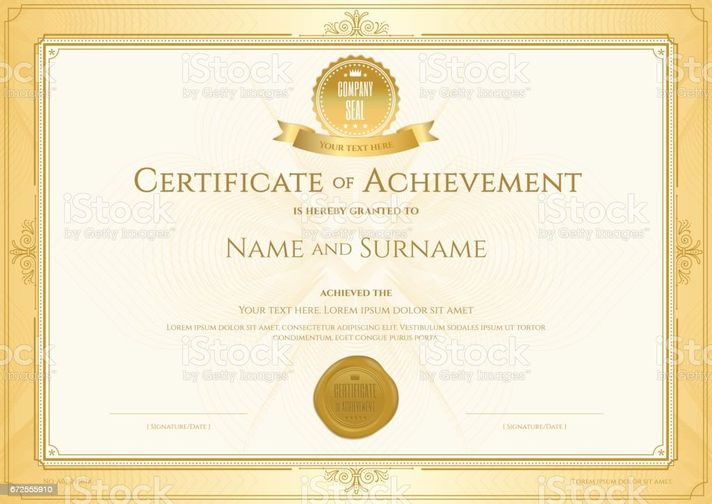 Certificate Of Achievement Template With Elegant Gold Border Stock