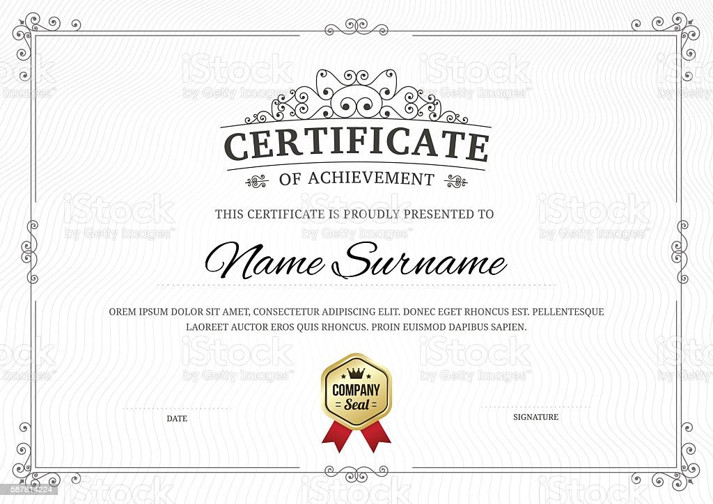 Certificate of achievement vector template background. vector art illustration